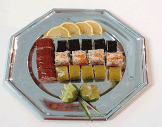 Sushi dish with origami wraps at SIAL